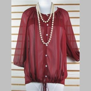 Sheer burgundy buttoned blouse drawstring hemline